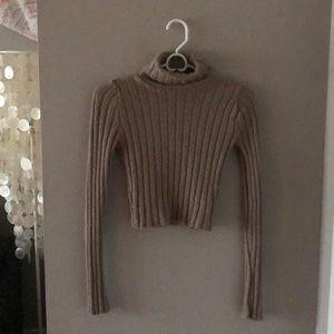 Silence + Noise - Tan Cropped Turtleneck Sweater